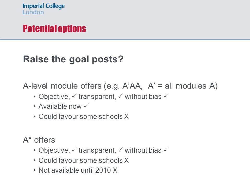 Potential options Raise the goal posts. A-level module offers (e.g.