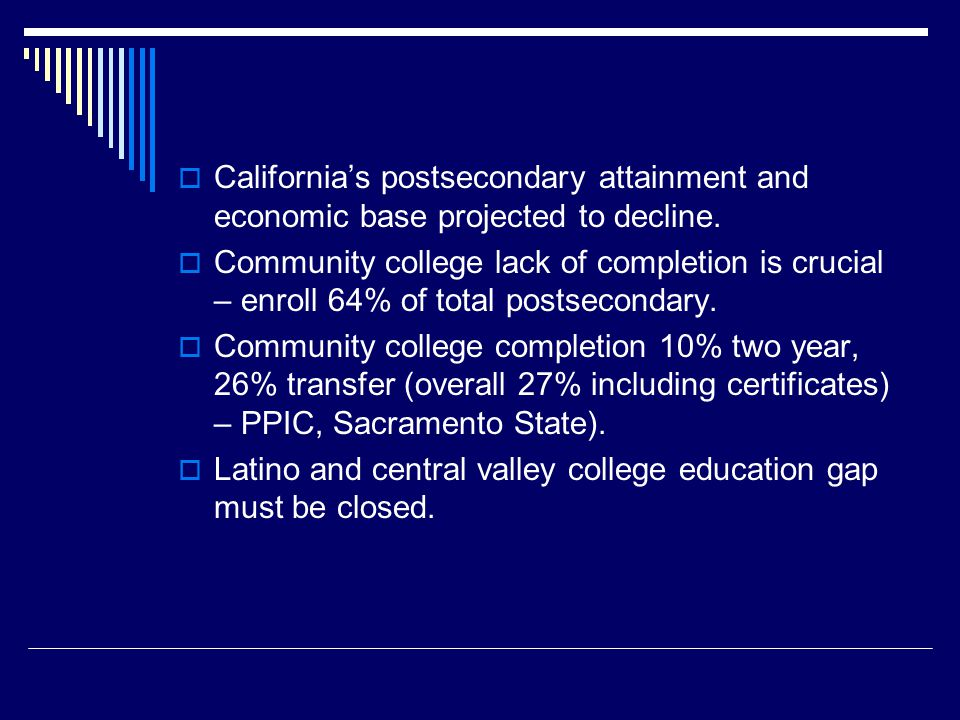  California's postsecondary attainment and economic base projected to decline.