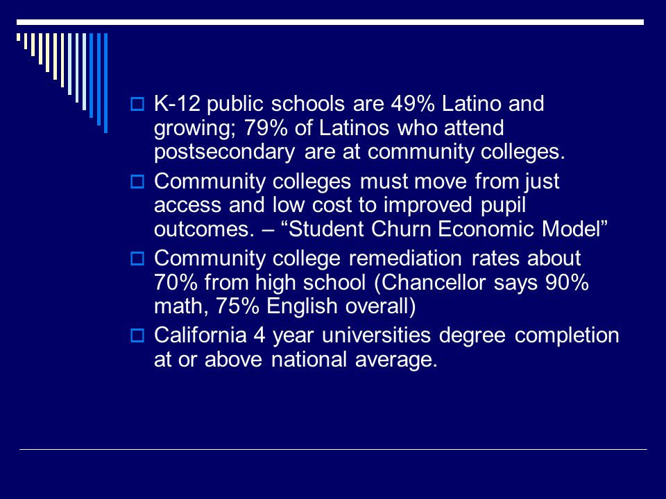  K-12 public schools are 49% Latino and growing; 79% of Latinos who attend postsecondary are at community colleges.  Community colleges must move fr