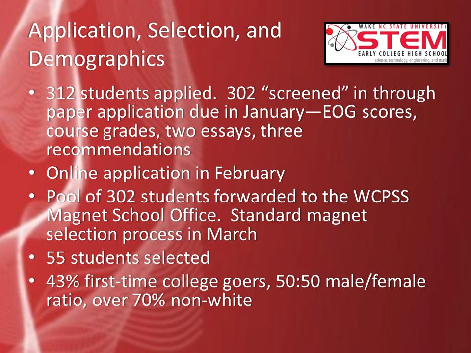 Application, Selection, and Demographics 312 students applied.