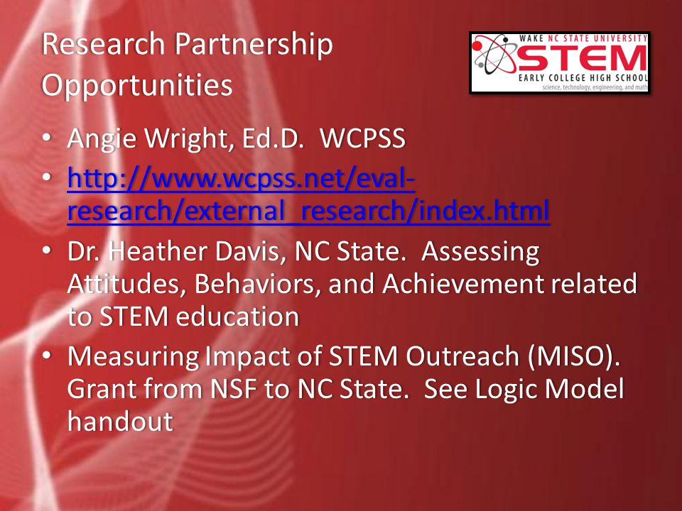 Research Partnership Opportunities Angie Wright, Ed.D.