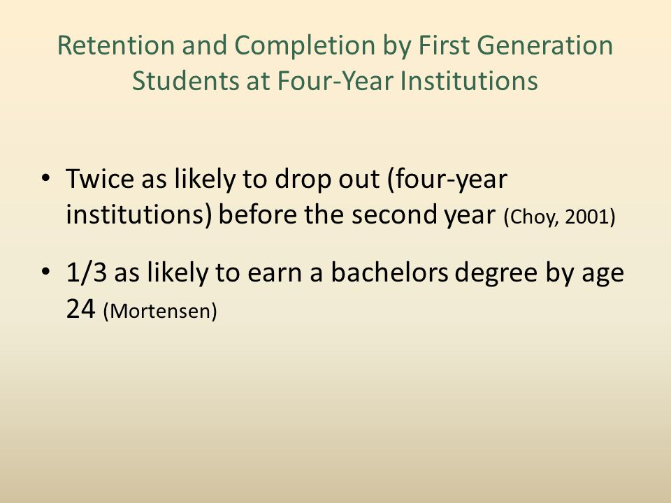 Retention and Completion by First Generation Students at Four-Year Institutions Twice as likely to drop out (four-year institutions) before the second