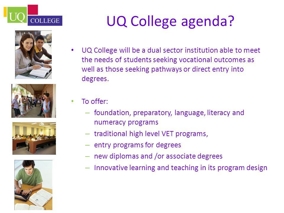 UQ College agenda.