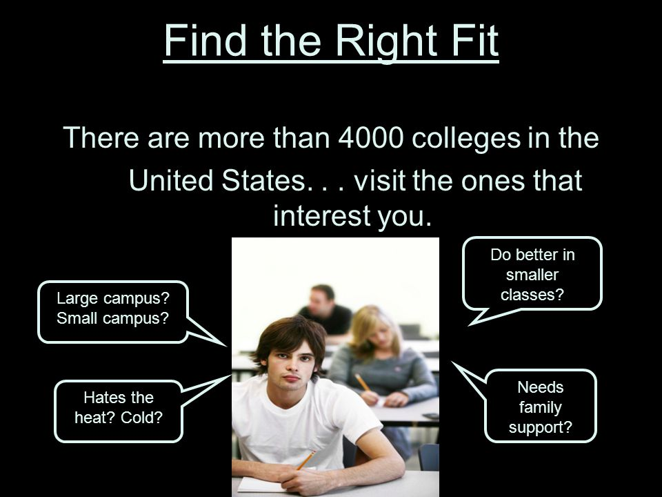 Find the Right Fit There are more than 4000 colleges in the United States...