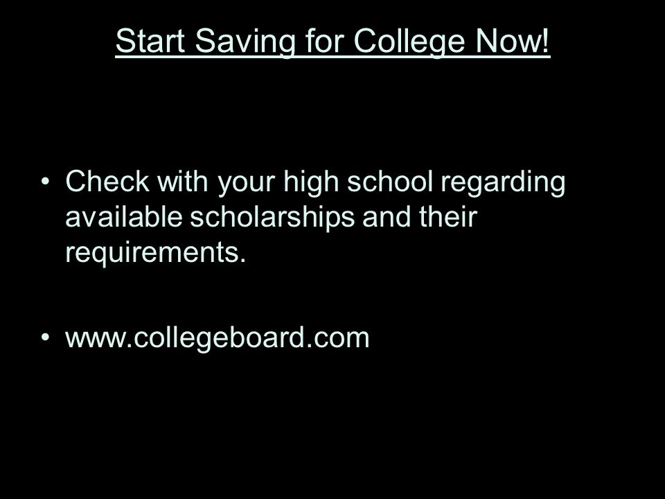 Start Saving for College Now.