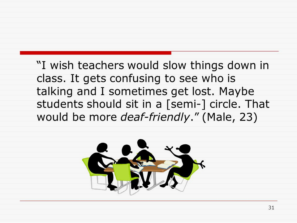 """31 """"I wish teachers would slow things down in class. It gets confusing to see who is talking and I sometimes get lost. Maybe students should sit in a"""