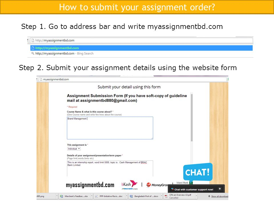 How to submit your assignment order. Step 1.