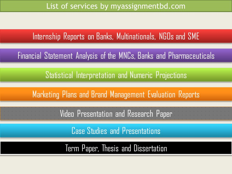 Statistical Interpretation and Numeric Projections Financial Statement Analysis of the MNCs, Banks and Pharmaceuticals Marketing Plans and Brand Management Evaluation Reports Video Presentation and Research Paper Internship Reports on Banks, Multinationals, NGOs and SME Term Paper, Thesis and Dissertation Case Studies and Presentations List of services by myassignmentbd.com