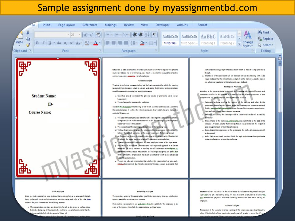 Sample assignment done by myassignmentbd.com