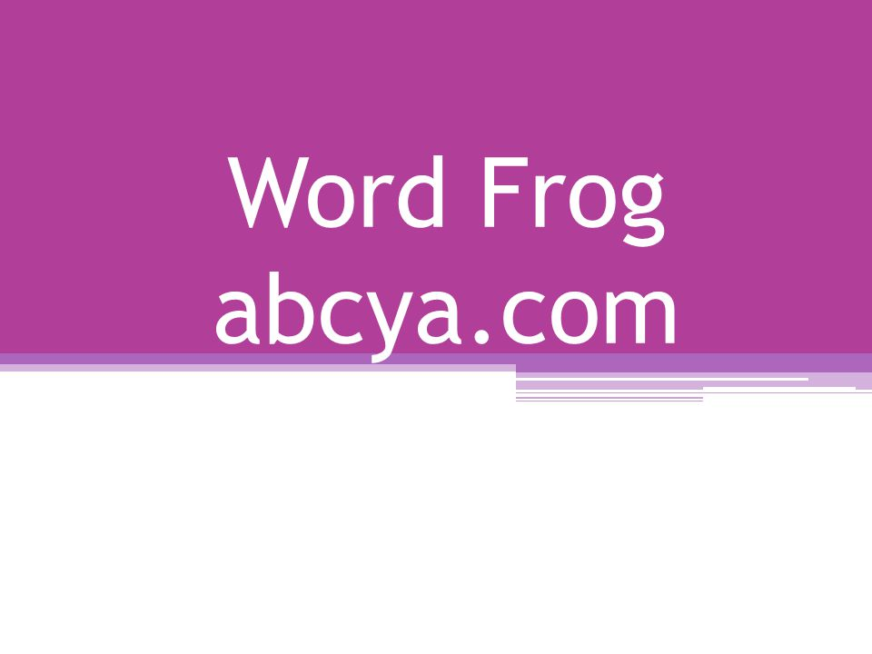 Word Frog abcya.com