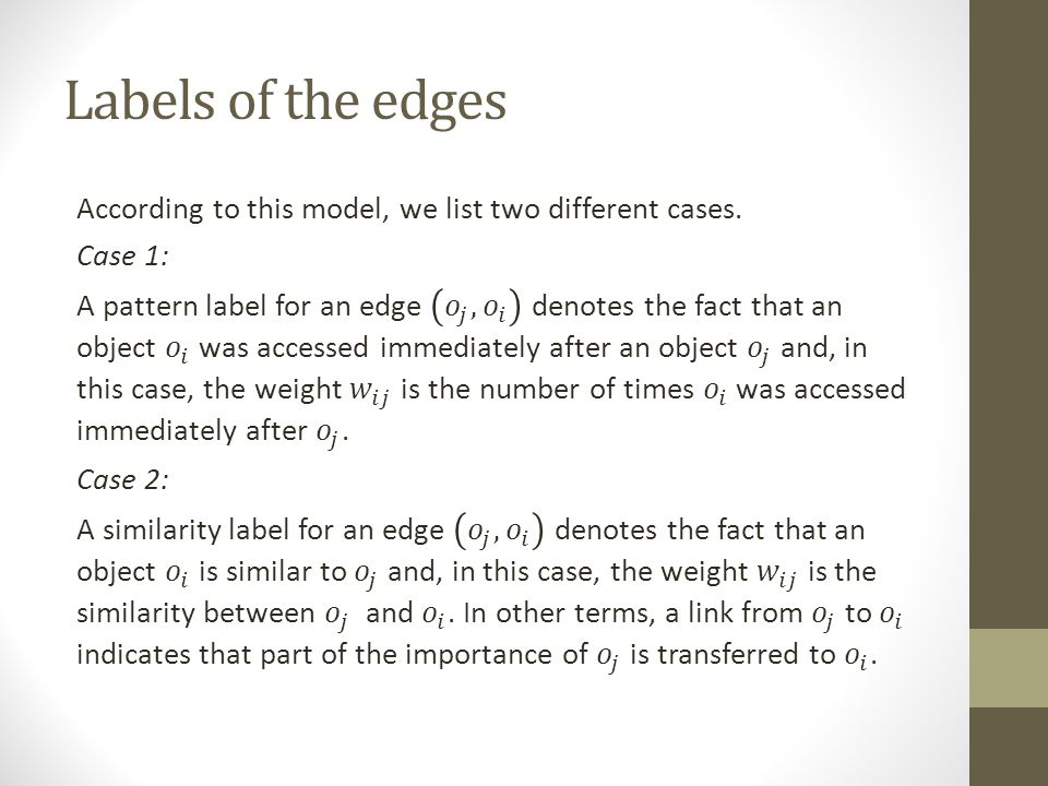 Labels of the edges
