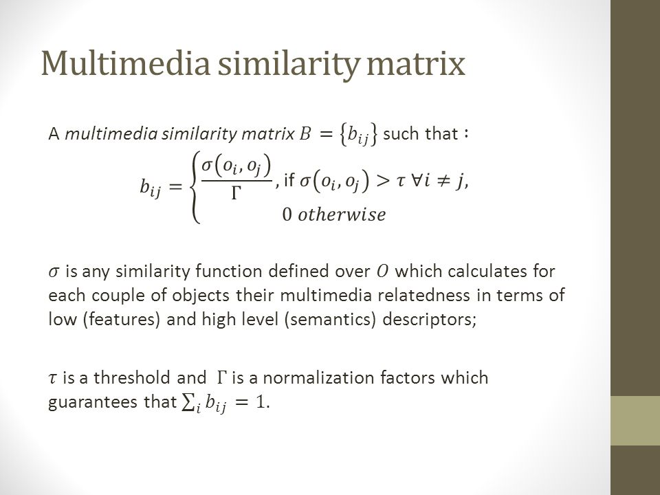 Multimedia similarity matrix
