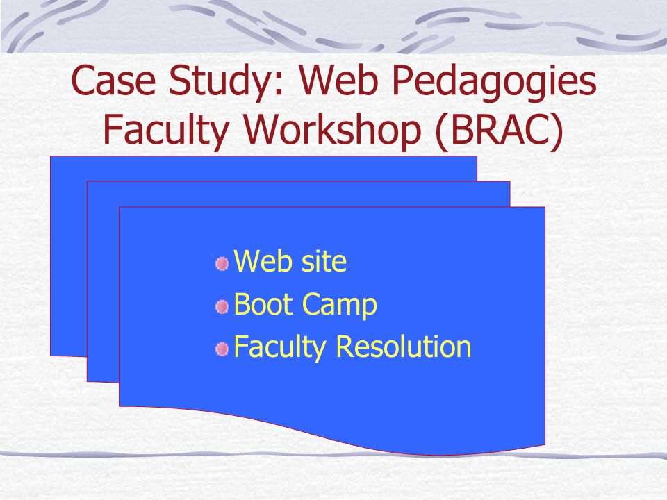 Case Study: Web Pedagogies Faculty Workshop (BRAC) Web site Boot Camp Faculty Resolution