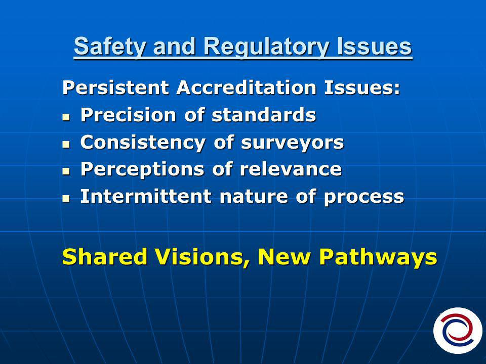 Safety and Regulatory Issues Persistent Accreditation Issues: Precision of standards Precision of standards Consistency of surveyors Consistency of surveyors Perceptions of relevance Perceptions of relevance Intermittent nature of process Intermittent nature of process Shared Visions, New Pathways