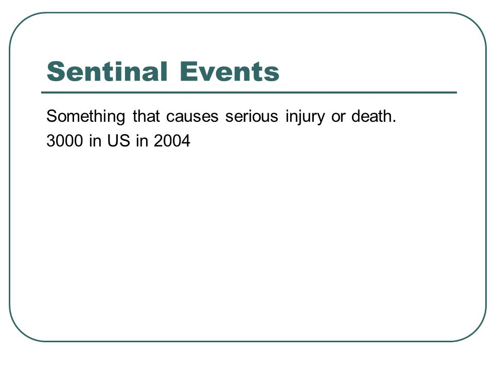 Sentinal Events Something that causes serious injury or death. 3000 in US in 2004