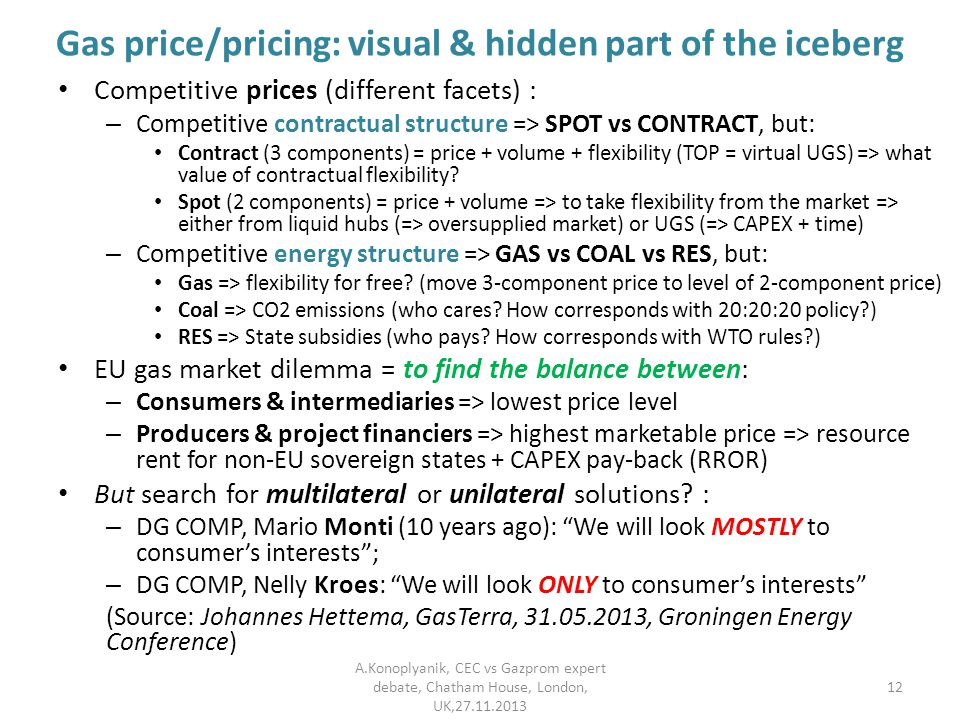Gas price/pricing: visual & hidden part of the iceberg Competitive prices (different facets) : – Competitive contractual structure => SPOT vs CONTRACT