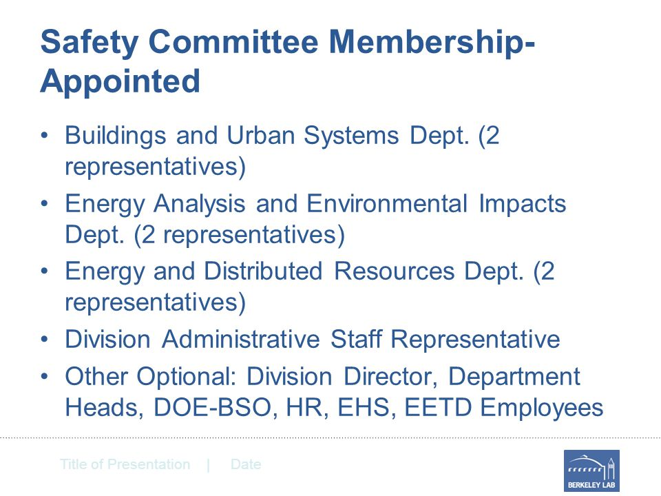 Title of Presentation | Date Safety Committee Membership- Appointed Buildings and Urban Systems Dept.