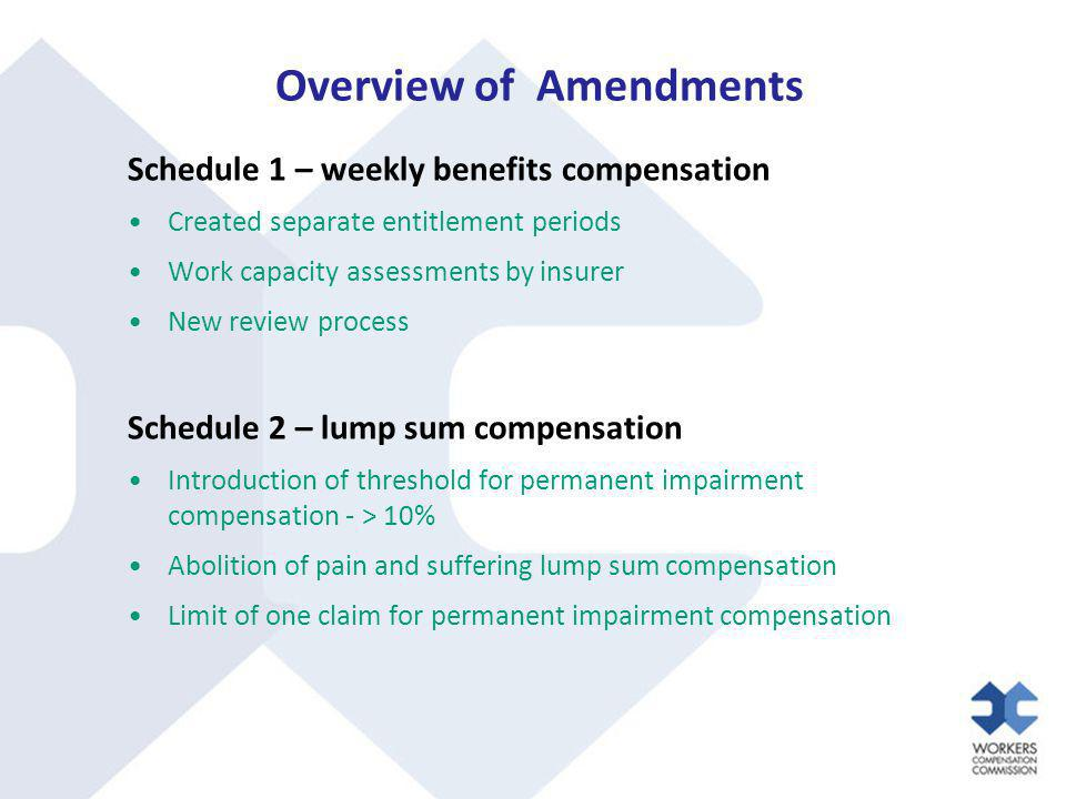 Overview of Amendments Schedule 1 – weekly benefits compensation Created separate entitlement periods Work capacity assessments by insurer New review process Schedule 2 – lump sum compensation Introduction of threshold for permanent impairment compensation - > 10% Abolition of pain and suffering lump sum compensation Limit of one claim for permanent impairment compensation