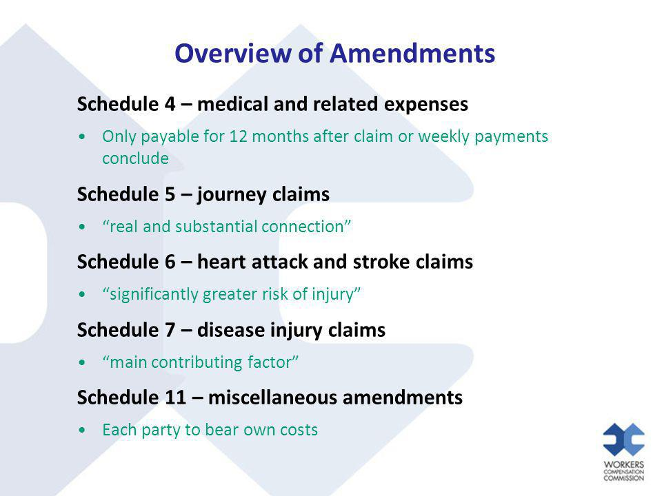 Overview of Amendments Schedule 4 – medical and related expenses Only payable for 12 months after claim or weekly payments conclude Schedule 5 – journ