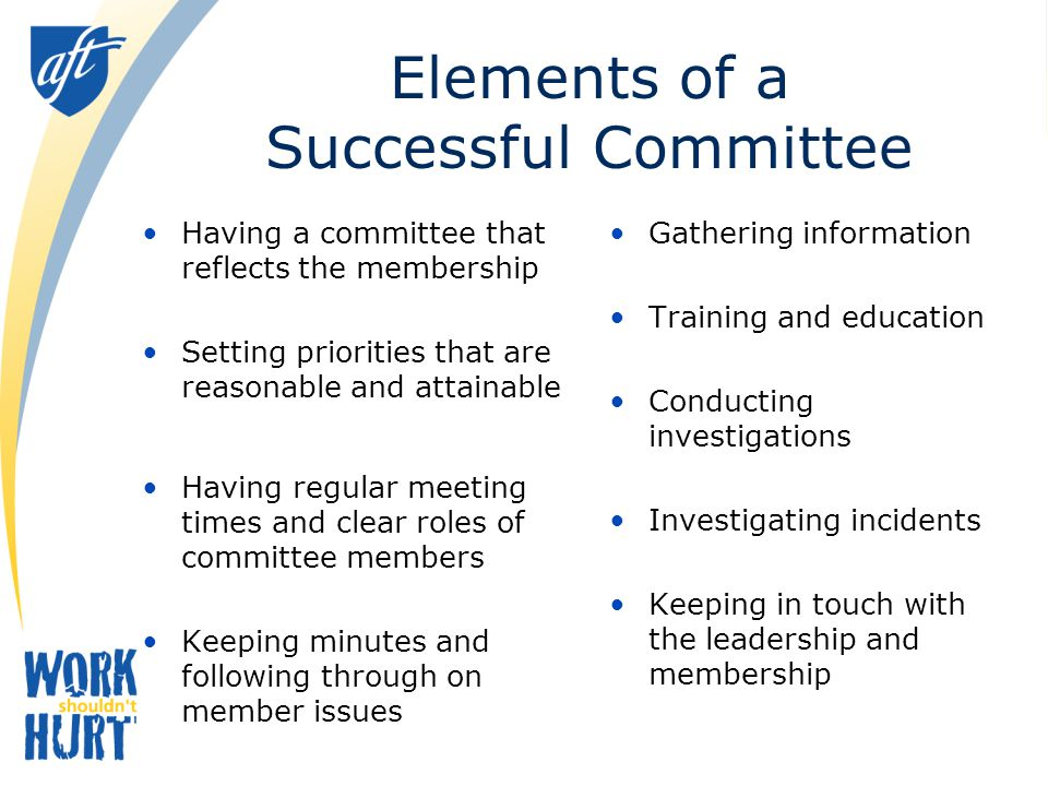 Review Function and Process for Joint Committees Management and unions should each appoint their own members t the committee Equal number of management and union representatives is ideal Representatives from several sites or schools is important Rotation of representatives is important Management representative with the latitude to act upon the committee's recommendation is essential (budgetary authority as well as expertise)