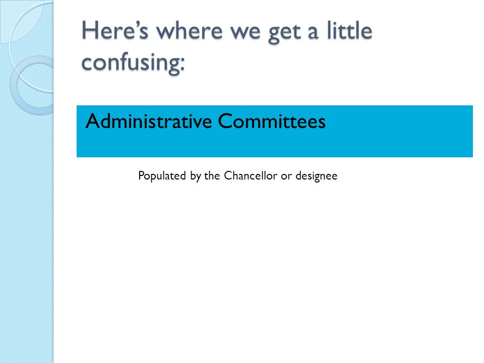 Here's where we get a little confusing: Administrative Committees Populated by the Chancellor or designee