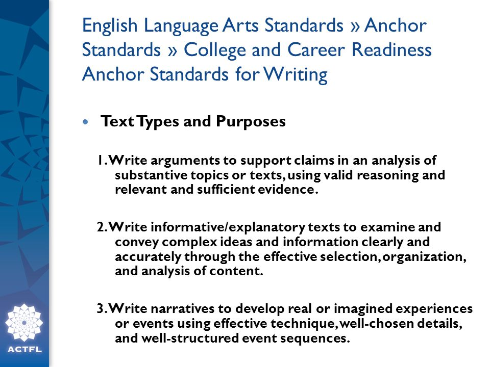English Language Arts Standards » Anchor Standards » College and Career Readiness Anchor Standards for Writing Text Types and Purposes 1.