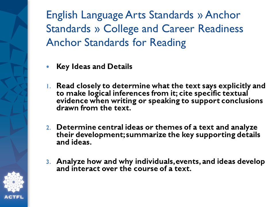 English Language Arts Standards » Anchor Standards » College and Career Readiness Anchor Standards for Reading Key Ideas and Details 1.