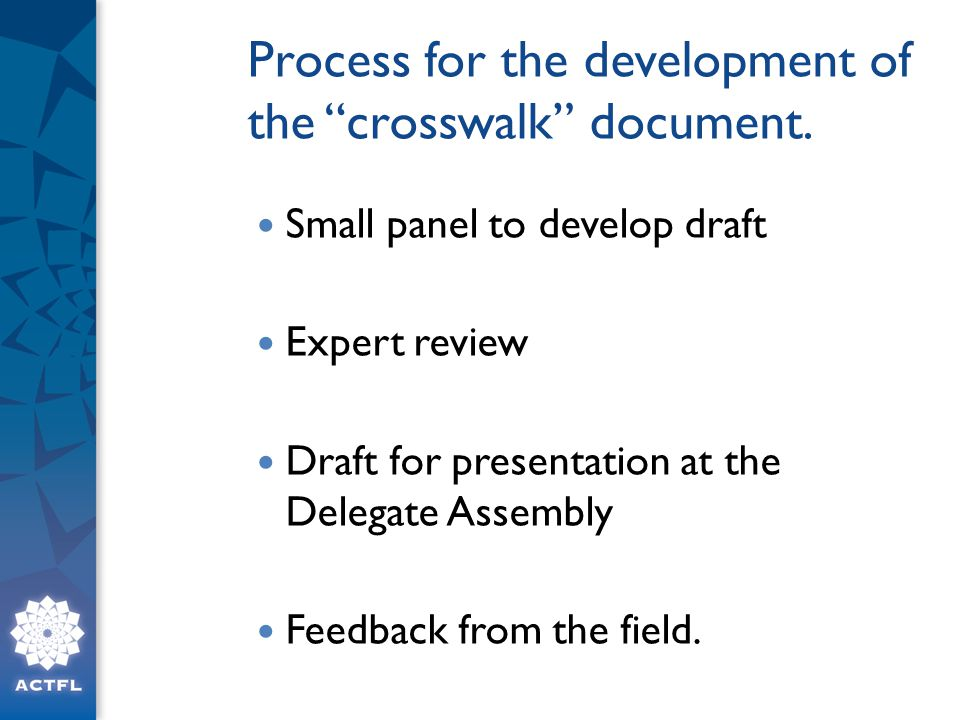 Process for the development of the crosswalk document.