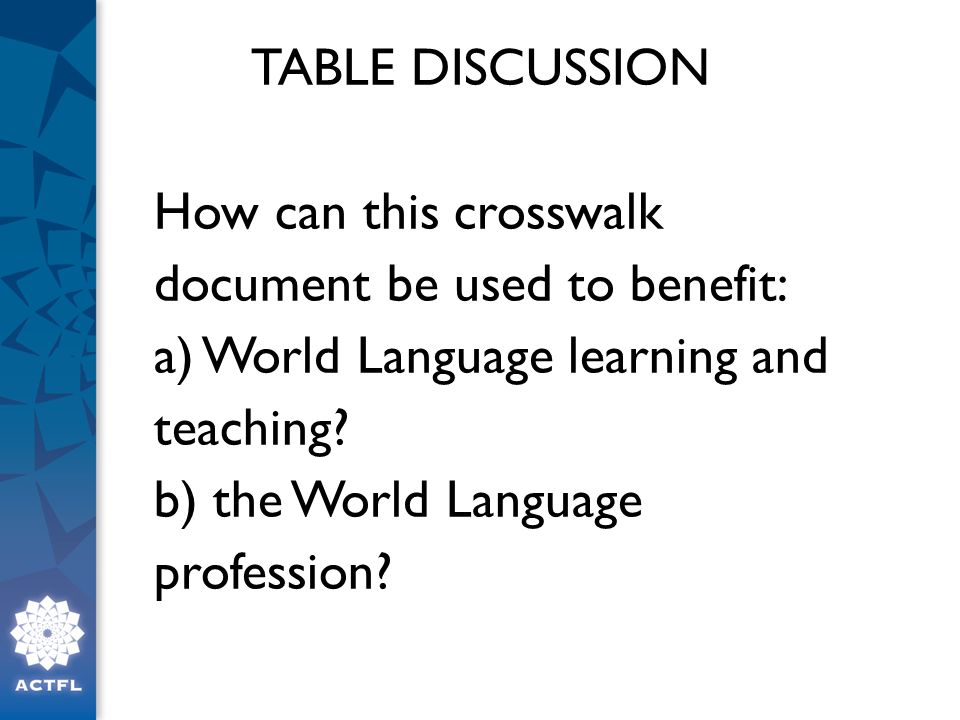 TABLE DISCUSSION How can this crosswalk document be used to benefit: a) World Language learning and teaching.