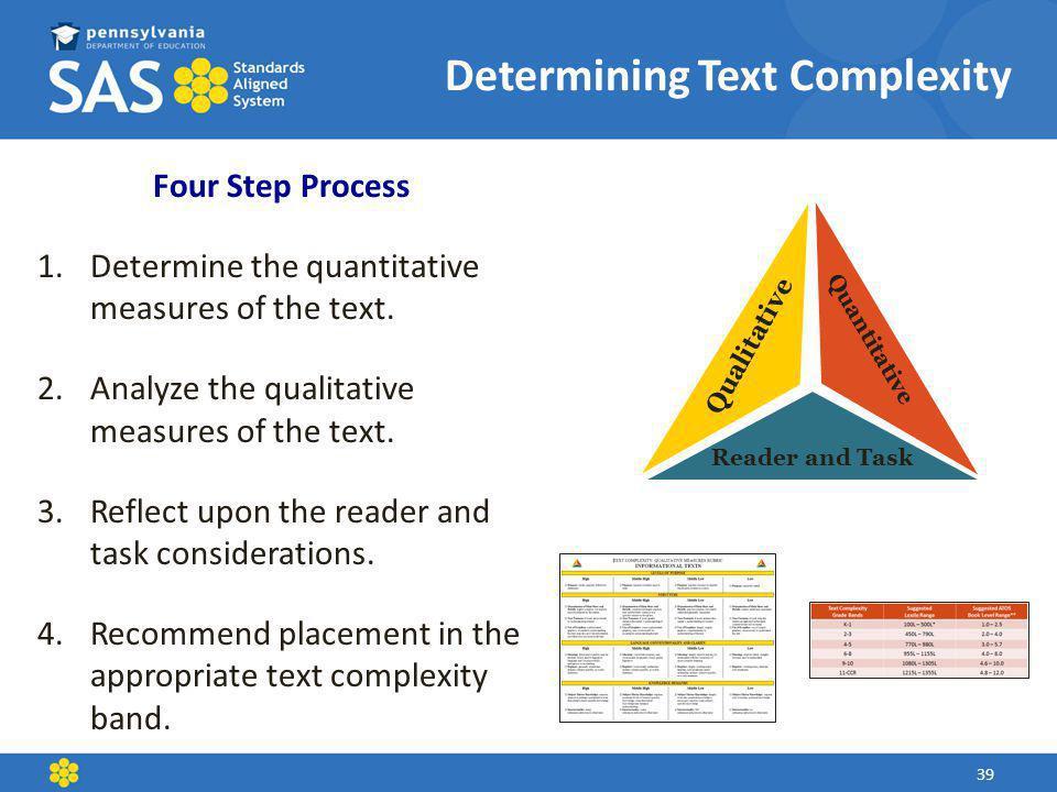 Determining Text Complexity Quantitative Qualitative Reader and Task Four Step Process 1.Determine the quantitative measures of the text.