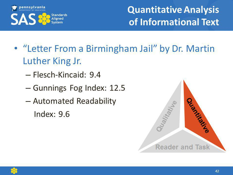 Quantitative Analysis of Informational Text Letter From a Birmingham Jail by Dr.