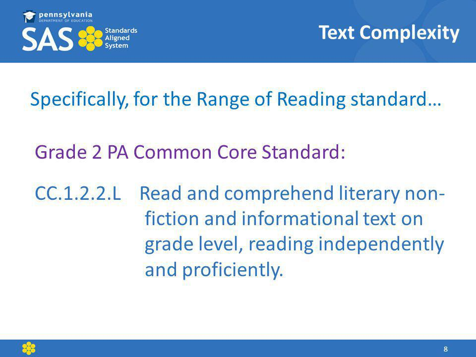 Text Complexity Specifically, for the Range of Reading standard… Grade 2 PA Common Core Standard: CC.1.2.2.L Read and comprehend literary non- fiction and informational text on grade level, reading independently and proficiently.