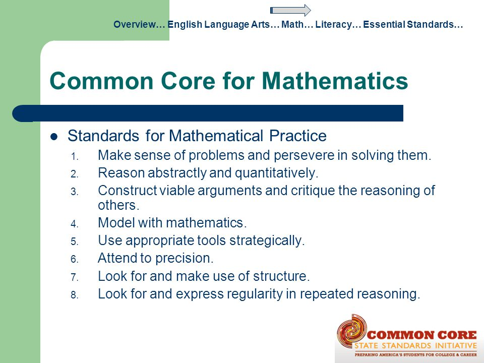 Common Core for Mathematics Standards for Mathematical Practice 1. Make sense of problems and persevere in solving them. 2. Reason abstractly and quan