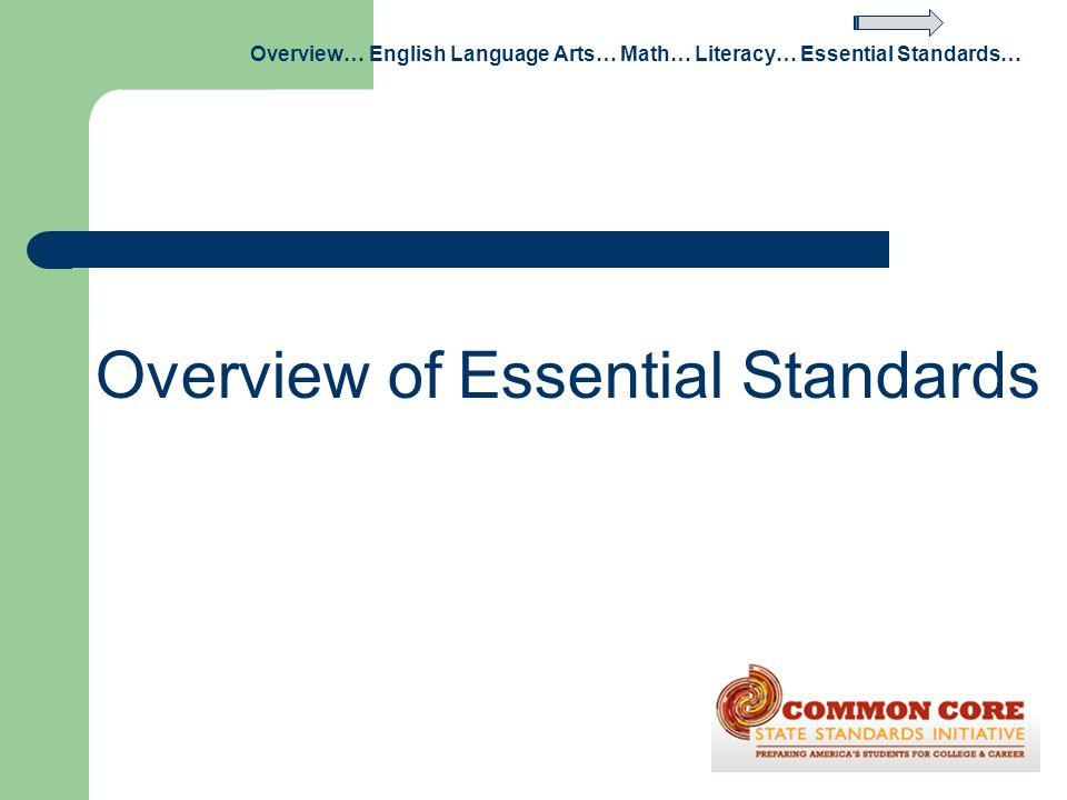 Overview of Essential Standards Overview… English Language Arts… Math… Literacy… Essential Standards…
