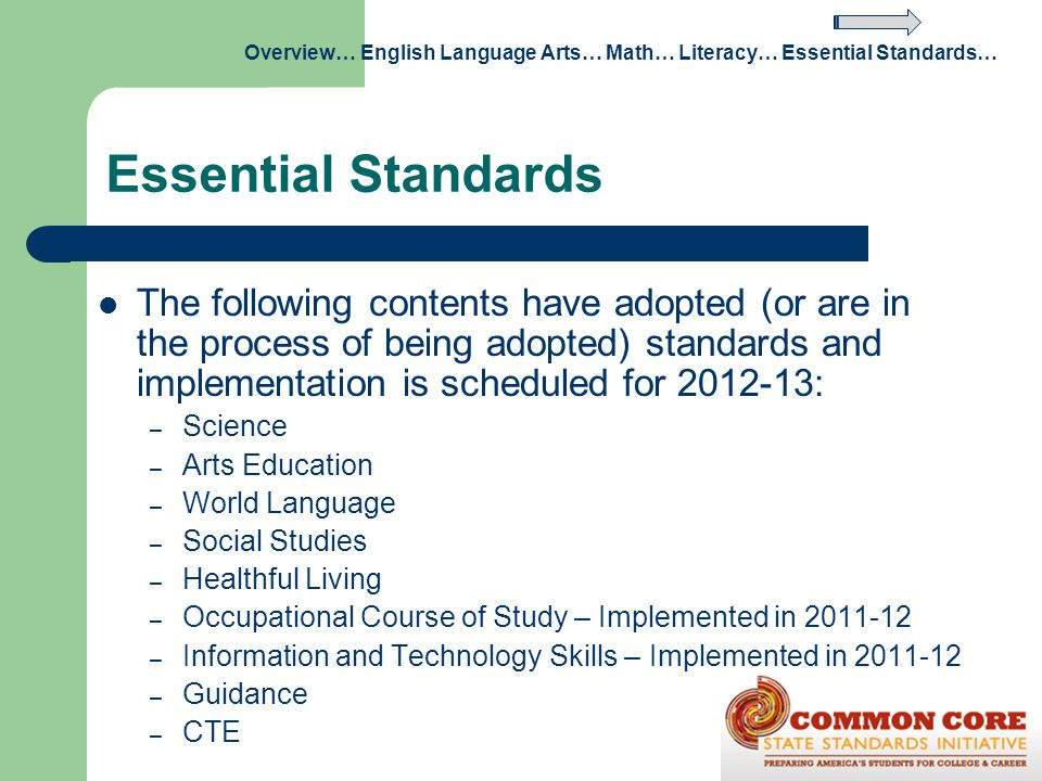 Essential Standards The following contents have adopted (or are in the process of being adopted) standards and implementation is scheduled for 2012-13
