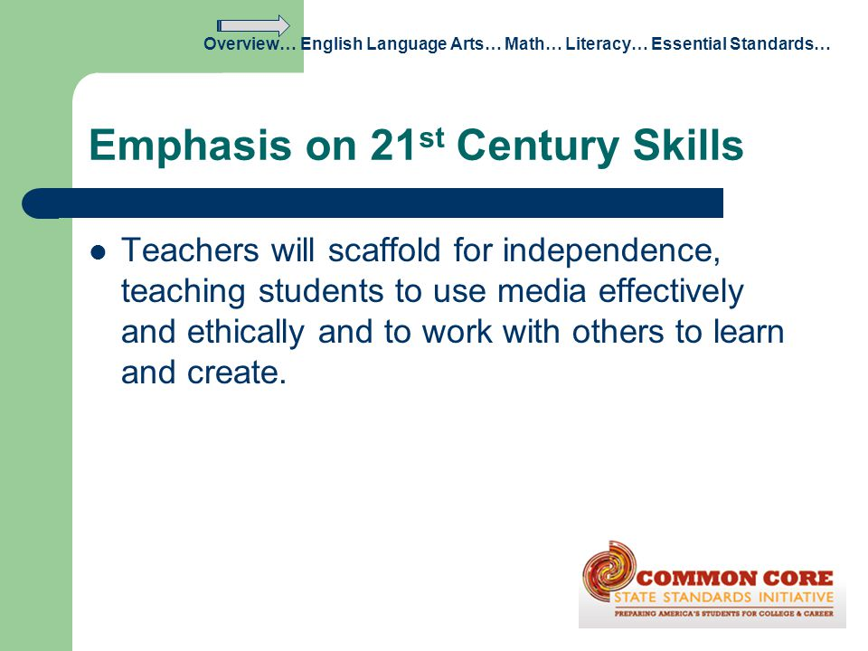 Emphasis on 21 st Century Skills Teachers will scaffold for independence, teaching students to use media effectively and ethically and to work with ot