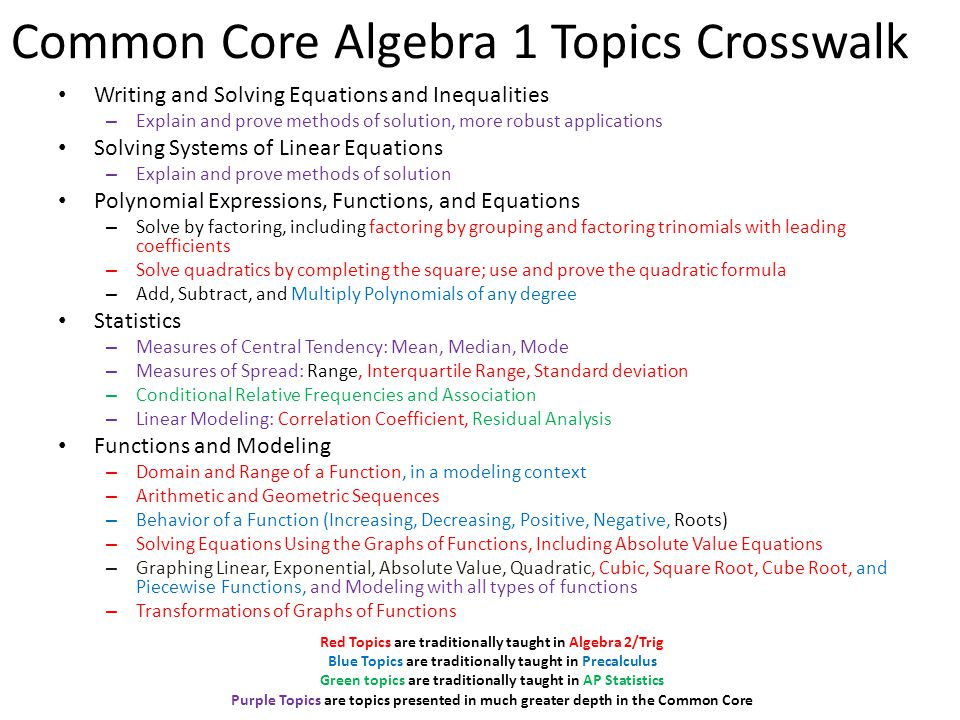 Common Core Algebra 1 Topics Crosswalk Writing and Solving Equations and Inequalities – Explain and prove methods of solution, more robust application