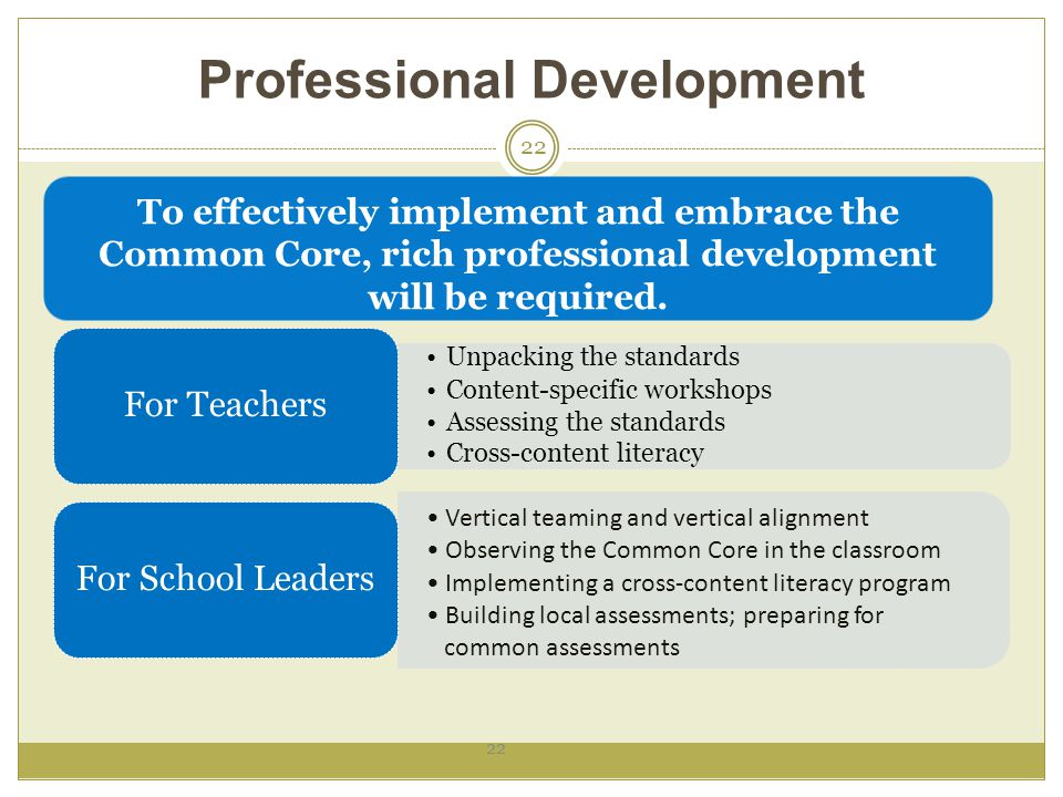 Professional Development 22 To effectively implement and embrace the Common Core, rich professional development will be required.
