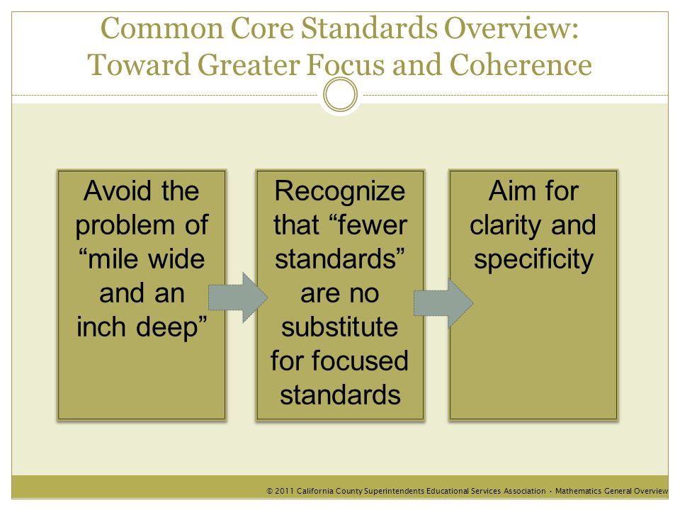 Common Core Standards Overview: Toward Greater Focus and Coherence Avoid the problem of mile wide and an inch deep Avoid the problem of mile wide and an inch deep Aim for clarity and specificity © 2011 California County Superintendents Educational Services Association Mathematics General Overview Recognize that fewer standards are no substitute for focused standards