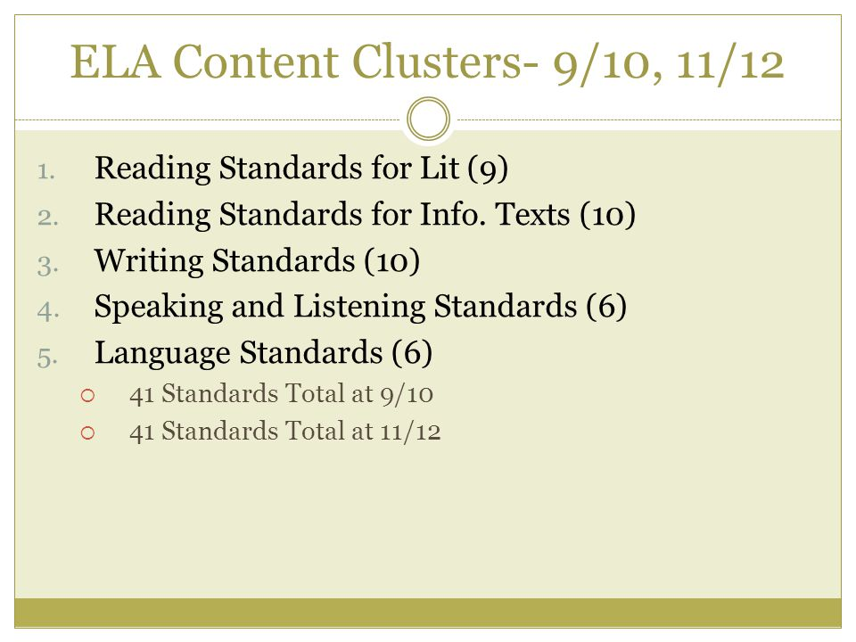 ELA Content Clusters- 9/10, 11/12 1. Reading Standards for Lit (9) 2.