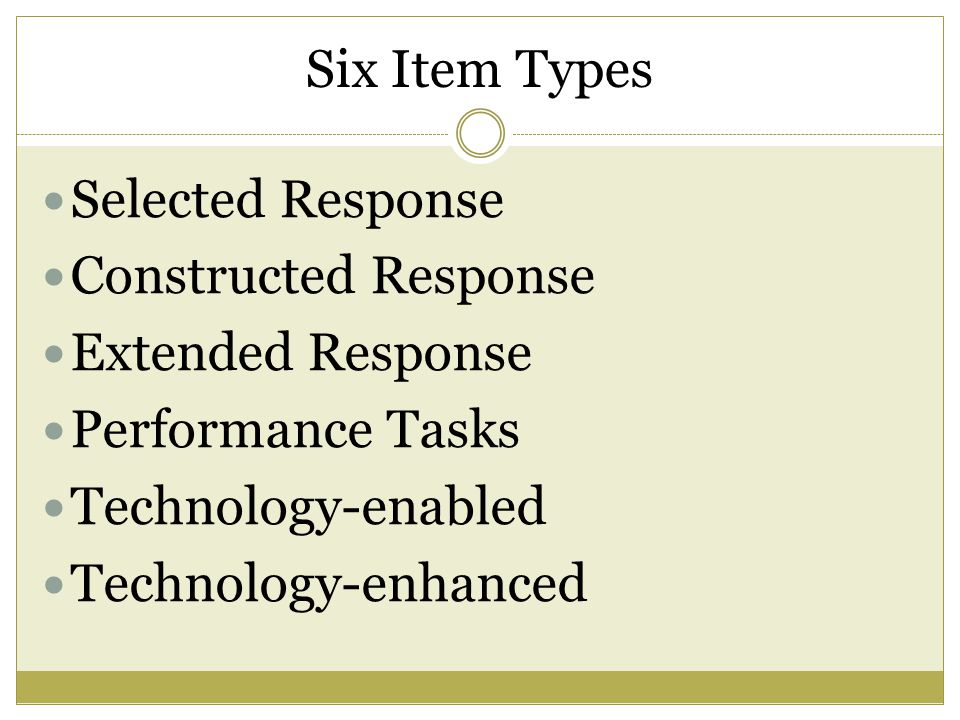 Six Item Types Selected Response Constructed Response Extended Response Performance Tasks Technology-enabled Technology-enhanced