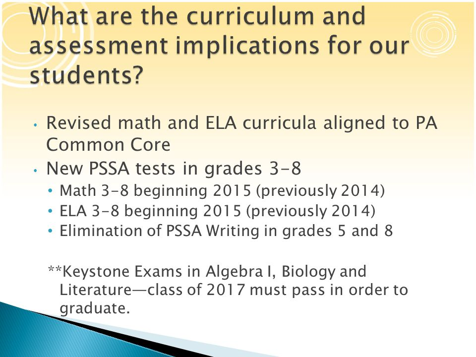  Several delays:  Timeline for implementing revised PSSA tests in grades 3-5 has changed.