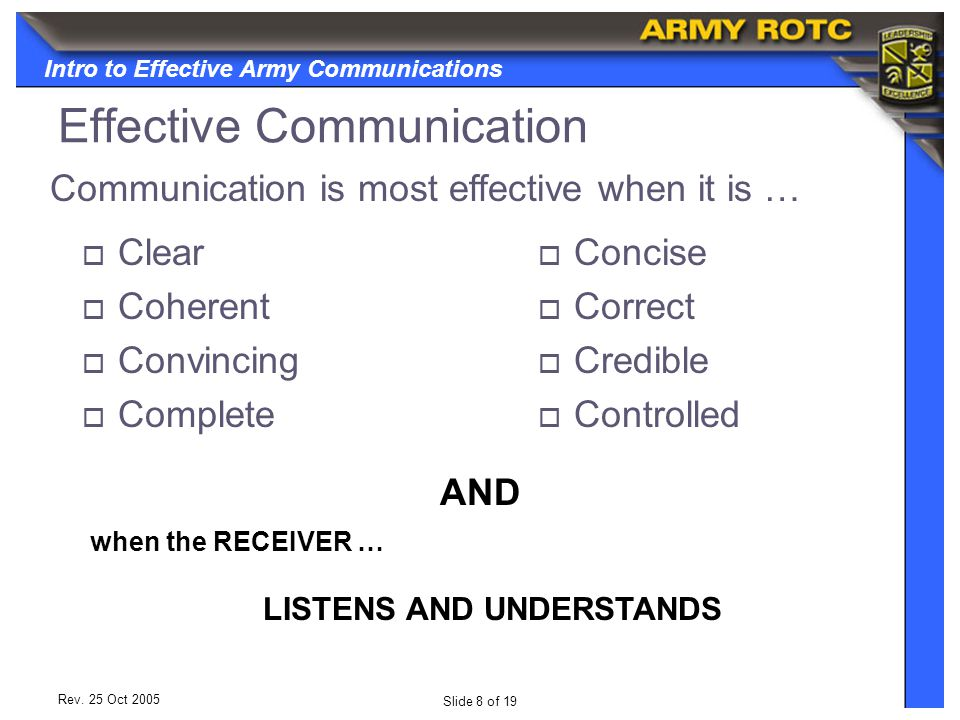 Intro to Effective Army Communications Slide 8 of 19 Rev.