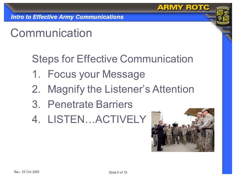 Intro to Effective Army Communications Slide 10 of 19 Rev.