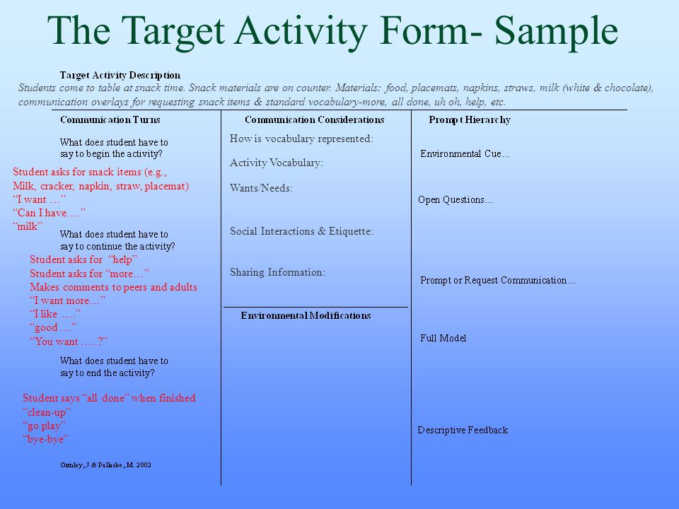 The Target Activity Form- Sample Students come to table at snack time. Snack materials are on counter. Materials: food, placemats, napkins, straws, mi