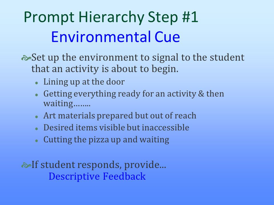 Prompt Hierarchy Step #1 Environmental Cue  Set up the environment to signal to the student that an activity is about to begin. l Lining up at the do