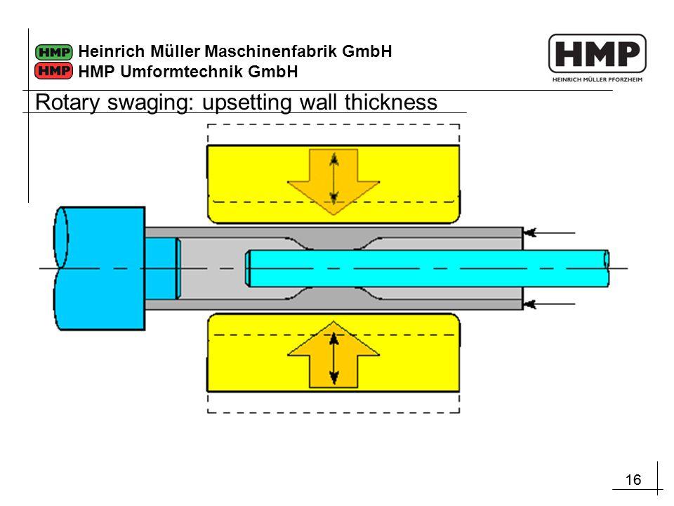16 Heinrich Müller Maschinenfabrik GmbH HMP Umformtechnik GmbH Rotary swaging: upsetting wall thickness