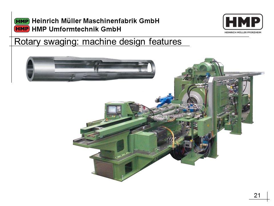 21 Heinrich Müller Maschinenfabrik GmbH HMP Umformtechnik GmbH Rotary swaging: machine design features