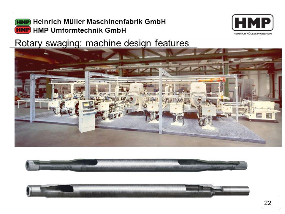 22 Heinrich Müller Maschinenfabrik GmbH HMP Umformtechnik GmbH Rotary swaging: machine design features