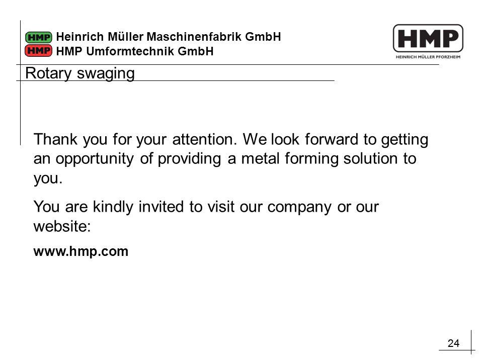 24 Heinrich Müller Maschinenfabrik GmbH HMP Umformtechnik GmbH Rotary swaging Thank you for your attention.